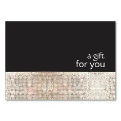Faux Silver Sequins Black Salon Gift Certificate Business Card Templates for Fashion Designers, Stylists, Makeup Artists, And Cosmetologists.