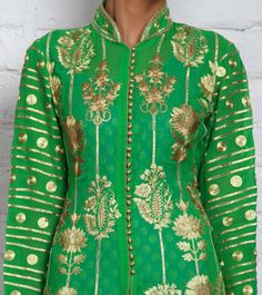 Green Georgette Anarkali with Kasab Embroidery
