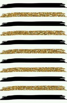 Gold glitter, black stripes on white