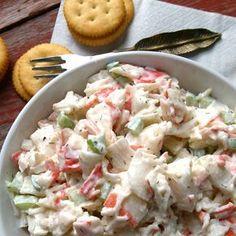 Seafood Salad Recipe Salads with imitation crab meat, mayonnaise, celery, old bay seasoning, dill, salt