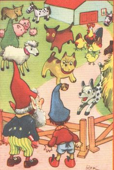 1950s Noddy print Noddy at the farm animals by VintageAndNostalgia, $14.95