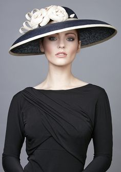 dc1f24c0352 R1762 - Navy fine straw hat with straw Camellias Sinamay Hats