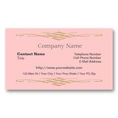 The 100 best 100 creative pink business cards for your inspiration shop simple professional with gold swirl pink business card created by atlanticdreams wajeb Gallery