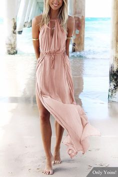 Sleeveless Back Lace-up Side Split Beach Maxi Dress In Pink