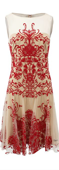 Notte By Marchesa ●  Illusion Neck Embroidered Dress
