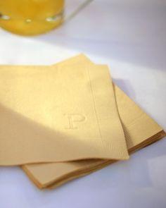 Embossed monogram cocktail napkins