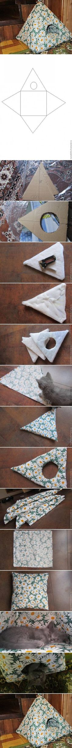 I found a cute idea for cat lovers, how to make a cat tent for your sweet kitty. All you need is a piece of cardboard, a canvas with a pattern you like (or you