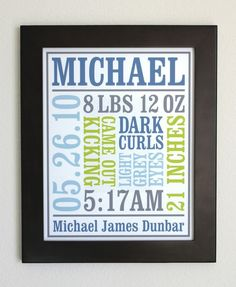 Custom Baby Birth Poster - is it too late to make one for K? :)