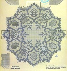 Kira scheme crochet: Scheme crochet no. Crochet Dollies, Crochet Doily Patterns, Lace Patterns, Crochet Motif, Crochet Flower, Cross Stitch Embroidery, Cross Stitch Patterns, Filet Crochet Charts, Fillet Crochet