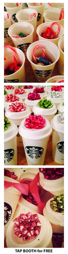 Reusable Starbucks for $1.00, fill with candy and add a colorful bow. Great gift for work, school, family gathering. Love.