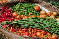reds, greens, oranges: peppers, beans, tomatoes in living colour