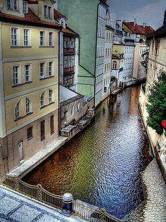 Prague, Czech Republic. We had dinner at a restaurant on a canal.