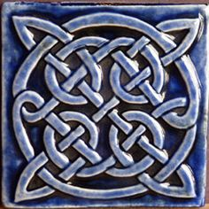 Decorative relief carved ceramic Celtic knot by earthsongtiles