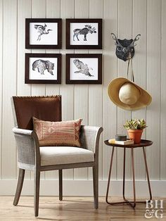 For a small space like this sitting nook, it's OK to stick with one neutral color. Beaded-board walls, a hardwood floor, and wicker furniture -- all in various shades of brown -- work together to create a rustic reading area. Animal prints and an antlered coat rack keep the nook from looking drab.
