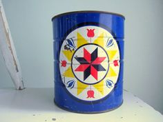 Vintage Scandinavian Print Blue Coffee Can. Willow Moon Vintage - Etsy.