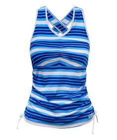9d6b05e212f72 Another great find on #zulily! Baja Blue & Navy Blue Stripe Ruched Tank