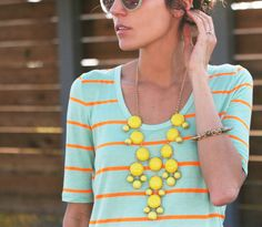 Hello Fashion: Neon Contrast Bib Necklace styling