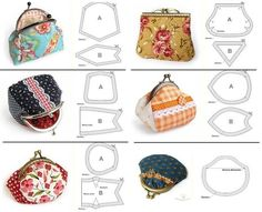 Interlining and patchwork: Purses Coin Purse Pattern, Coin Purse Tutorial, Wallet Pattern, Purse Patterns, Bag Quilt, Frame Purse, Diy Purse, Diy Clutch, Couture Sewing