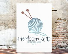Watercolor Logo knitting Logo Design by LolaBlooDesigns on Etsy