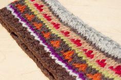 限量一件 / 手工羊毛編織繽紛髮帶/ 純羊毛編織髮帶 / boho headband - 咖啡世界圖騰