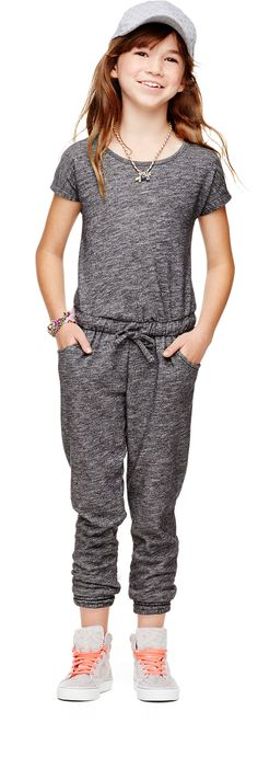 Grey Hooded Zipper Front Destroyed Knee Jumpsuit — € -------color: Grey size: M,S,XS Tween Fashion, Little Girl Fashion, Look Fashion, Womens Fashion, Moda Xl, Kids Outfits, Cute Outfits, Little Fashionista, Stylish Kids