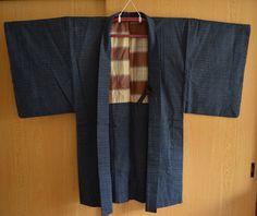 Men's dark blue cotton kasuri haori jacket, vintage Japanese kimono style coat by StyledinJapan on Etsy