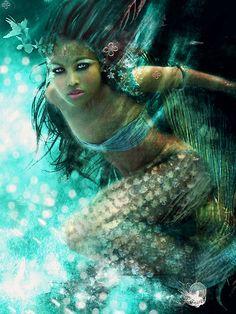 """""""B-L-U-E"""" mermaid art by phatpuppy"""