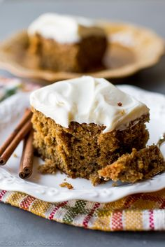 Homemade and super moist spice cake with tangy cream cheese frosting. Such an…