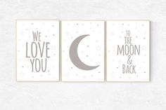 We love you to the moon and back gray nursery decor moon Nursery Twins, Baby Nursery Decor, Nursery Neutral, Baby Room Wall Art, Nursery Wall Art, Yellow Kids Rooms, Twin Nurseries, Love Moon