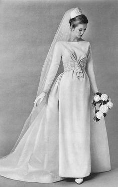 Early-mid 1960s wedding gown bride dress white veil column shift train