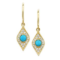 Evil Eye earrings with diamonds and turquoise in yellow gold.