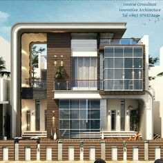Modern Design by Inverse Architecture Firm Modern Exterior House Designs, Modern House Design, House Front Design, False Ceiling Design, House Elevation, Luxury Homes, Beautiful Homes, Architecture Design, House Styles