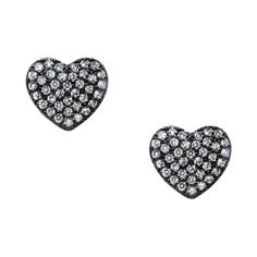 Sterling Silver and Black Rhodium Big Heart Clear Cubic Zirconia Stud... ($25) ❤ liked on Polyvore featuring jewelry, earrings, black, round earrings, clear earrings, butterfly jewelry, cz stud earrings and butterfly stud earrings