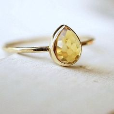 Yellow Honey Citrine Ring