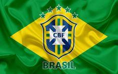 Download wallpapers Brazil national football team, logo, emblem, flag of Brazil, football federation, World Championship, football, silk texture