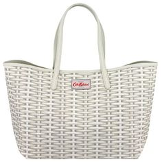 Buy Cath Kidston Wicker Large Leather Trim Tote, White from our Handbags, Bags & Purses range at John Lewis & Partners. Leather Handle, Leather Purses, Leather Handbags, Cath Kidston Bags, Paisley, White Purses, Summer Bags, Kids Bags, New Bag