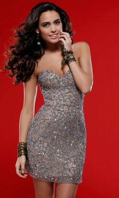Strapless Tight Short/Mini Natural Sequins Prom Dress PD2C73