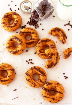 Baked Pumpkin Chocolate Chip Donuts by www.cookingwithruthie.com