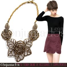 Un precioso #collar, en dorado envejecido, femenino, romántico, atemporal y totalmente polivalente, ya que igual sirve para ir a la oficina que como para un look de cena más arregladito ★ Precio: 9,95 € en http://www.conjuntados.com/es/collar-dorado-de-flores.html ★ #novedades #necklace #joyitas #jewelry #bisutería #bijoux #fashion #accesorios #complementos #moda #estilo #style #christmasgifts #regalos #comprasnavidad #detalles #regalosnavidad #GustosParaTodas #ParaTodosLosGustos