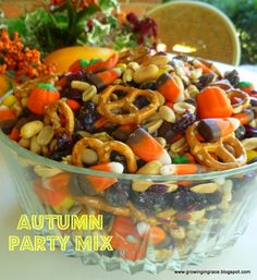 Autumn Party Mix : 1 bag of Autumn Mix 1 bag of Indian Corn 1 bag of Reese's Pieces 1 can of Party Peanuts 1 cup of Sunflower seeds 1 cup of Raisins 1 cup of Craisins When ready to eat, add: 1 cup of Mini Pretzels Fall Treats, Holiday Treats, Halloween Treats, Fall Snacks, Halloween Party, Thanksgiving Snacks, Fall Snack Mixes, Halloween Punch, Spooky Treats