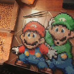 Mario and Luigi perler beads by nickgalilei