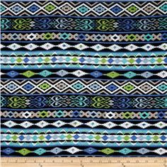 Rayon Jersey Knit Aztec Stripes Black/Green/Blue