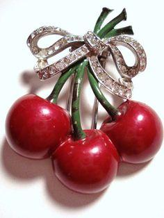 Mazer Enamel Bunch of Cherries Fur Clip