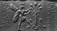 Griffin Demon Tearing Branch from TreeCylinder seal and impressionMesopotamia, Middle Assyrian period(ca. twelfth/eleventh century B.C.)