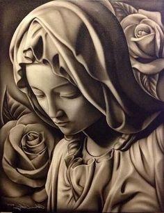 Mother of Sorrows. Chicano Drawings, Chicano Tattoos, Chicano Art, Christ Tattoo, Jesus Tattoo, Religious Tattoo Sleeves, Mother Mary Tattoos, Religion Tattoos, Heaven Tattoos