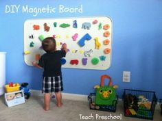 DIY Magnetic Board (spray painted grease pan from Wal-Mart or auto supply store). Use dry erase board paint and have a dry erase magnetic board! Toddler Fun, Toddler Activities, Toddler Class, Toy Rooms, Diy For Kids, Kids Playing, Kids Bedroom, Kindergarten, Diy Projects