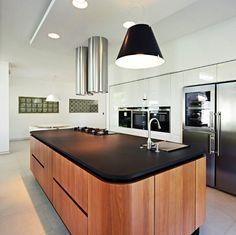 Black top with curved wood - House 04 project, Osijek, Croatia, Designed by  Helena Alfirevic Arbutina