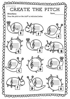 Treble Clef Note Naming Worksheets for This set of 10 Music worksheets Spring themed is designed to help your students practice identifying Treble pitch. Elementary Music Lessons, Music Lessons For Kids, Music For Kids, Elementary Schools, Art Lessons, Music Theory Worksheets, Violin Lessons, Piano Teaching, Teaching Art