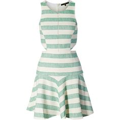 Tibi Blanket Flirty Dress with Cut Out Deta ❤ liked on Polyvore featuring dresses, vestidos, green fitted dress, short flare dress, short fitted dresses, mini dress and striped mini dress