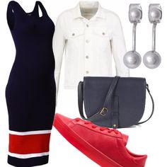 Abito blu lungo a bretelle con fasce rosse e bianche nel fondo abbinato a giubbino di jeans bianco e corto, sneakers Adidas rosse per essere comoda, borsa a tracolla blu e orecchini argentati.